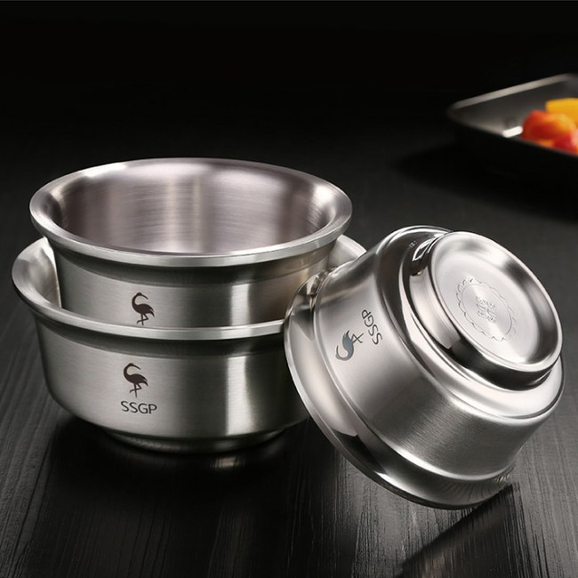 PUSH!廚房用品雙層隔熱304不鏽鋼加深防滑碗(12cm)E13112cm