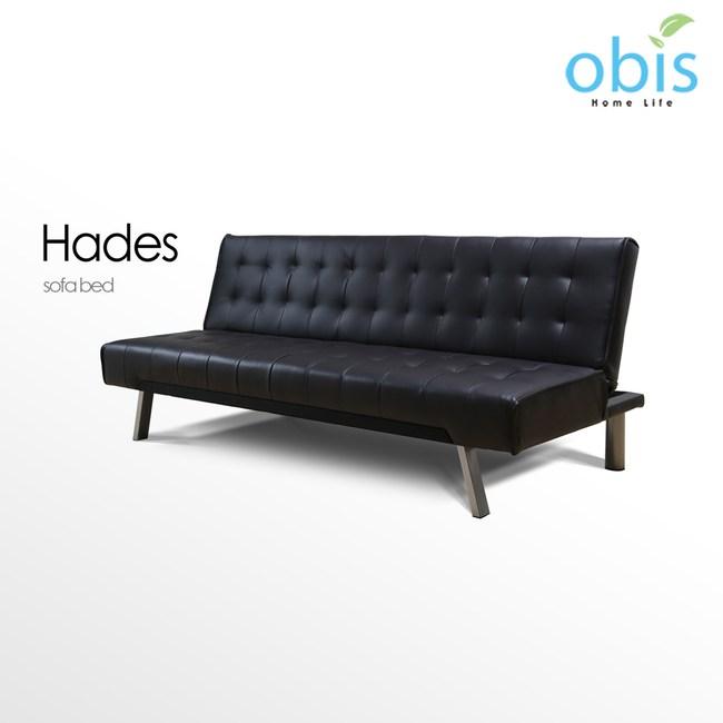 obis Hades 現代風新穎皮質沙發床-黑色