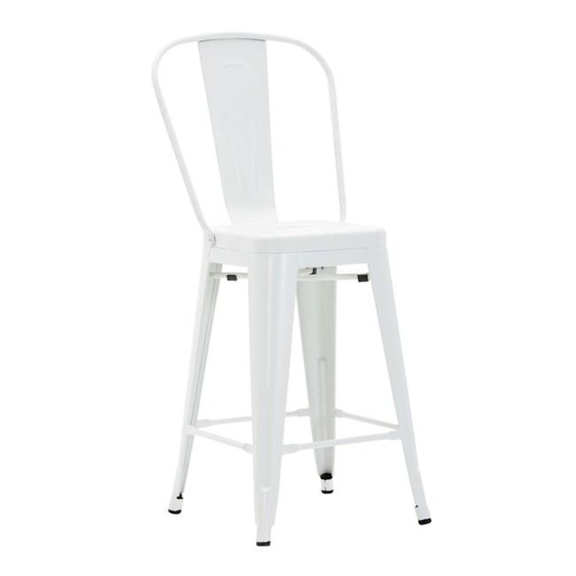 E-home維倫工業風金屬高背吧檯椅座高66cm白