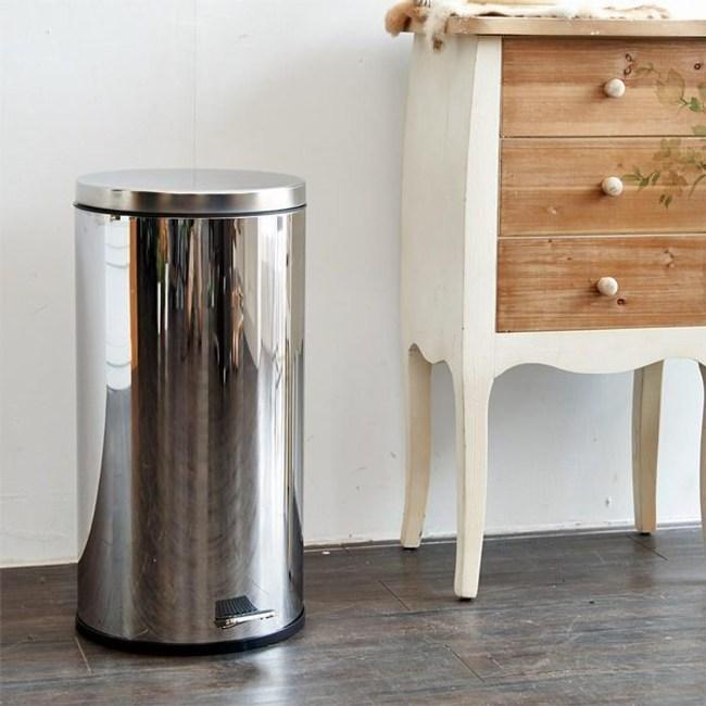 【H&R安室家】不鏽鋼腳踏垃圾桶-30L(台灣製造)