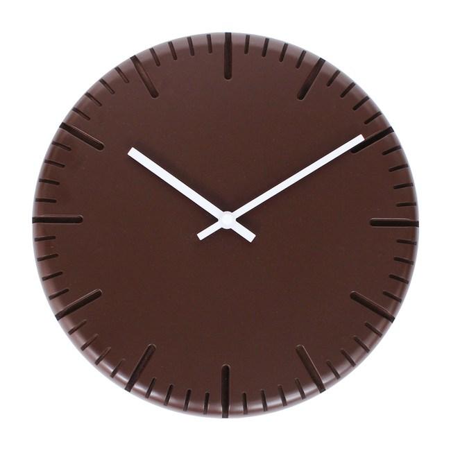 Lovel 30cm木刻靜音時鐘-巧克棕(W300L-BR)