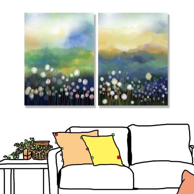 【24mama掛畫】二聯式油畫布無框畫 30x40cm-蒲公英花園01油畫布無時鐘