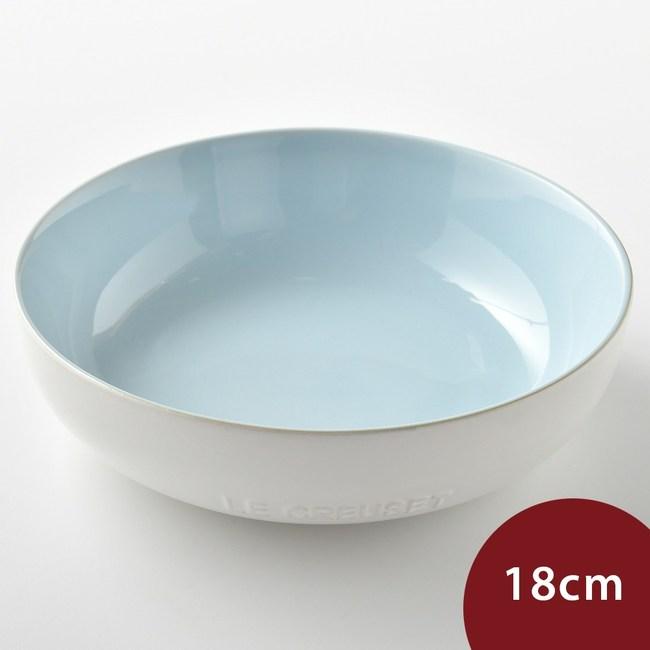 Le Creuset 花蕾系列 圓形深盤 18cm  棉花白/海岸藍