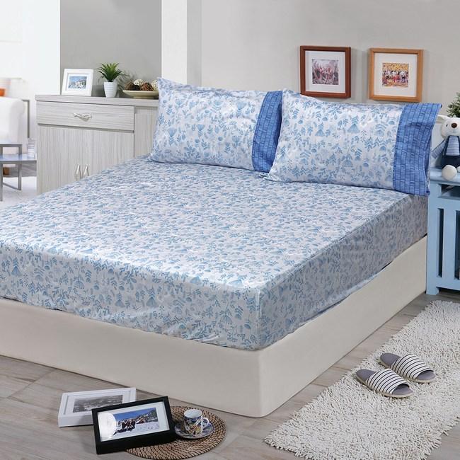 【FITNESS】精梳棉單人床包+枕套二件組-芳草幽夢(藍)