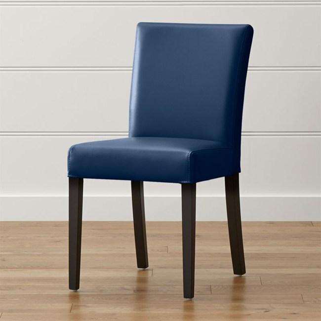 Crate&Barrel Lowe 皮質餐椅 海軍藍