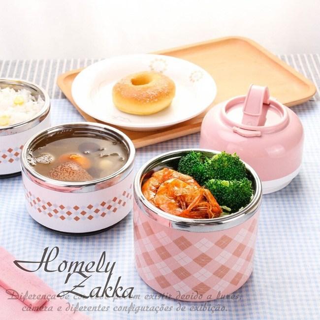 【Homely Zakka】韓式創意炫彩多層頂級不銹鋼保溫飯盒便當盒粉