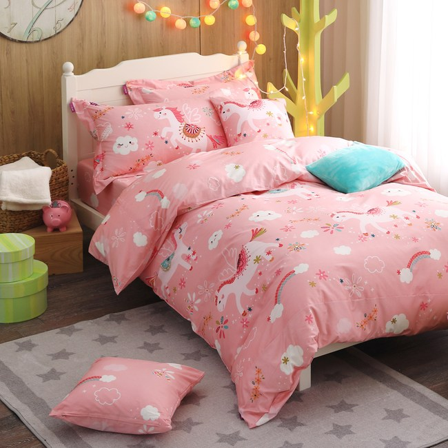 IN HOUSE-Unicorn paradise精梳棉特大被套床包組-粉