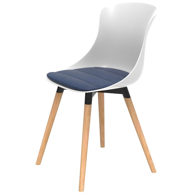 組 - 特力屋萊特 塑鋼椅 櫸木腳架40mm/白椅背/丹寧座墊