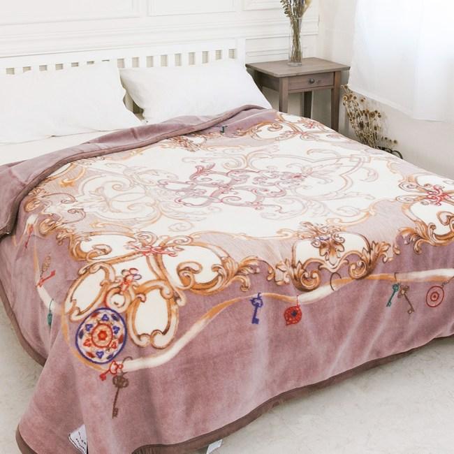 【米夢家居】鳴球100%澳洲美麗諾拉舍爾雙層加厚保暖純羊毛毯-紫芋情緣