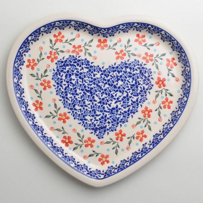 波蘭陶 藍印紅花系列 愛心造型餐盤 波蘭手工製