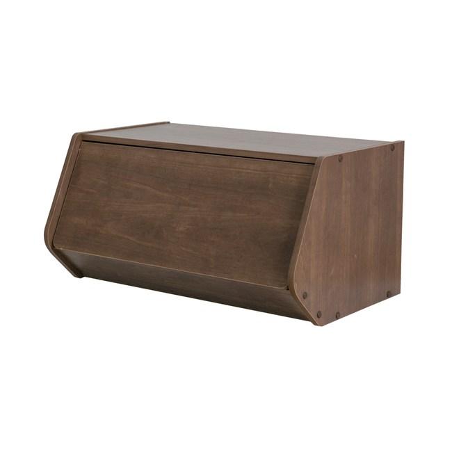 日本IRIS木質可掀門堆疊櫃W60H30-深木色