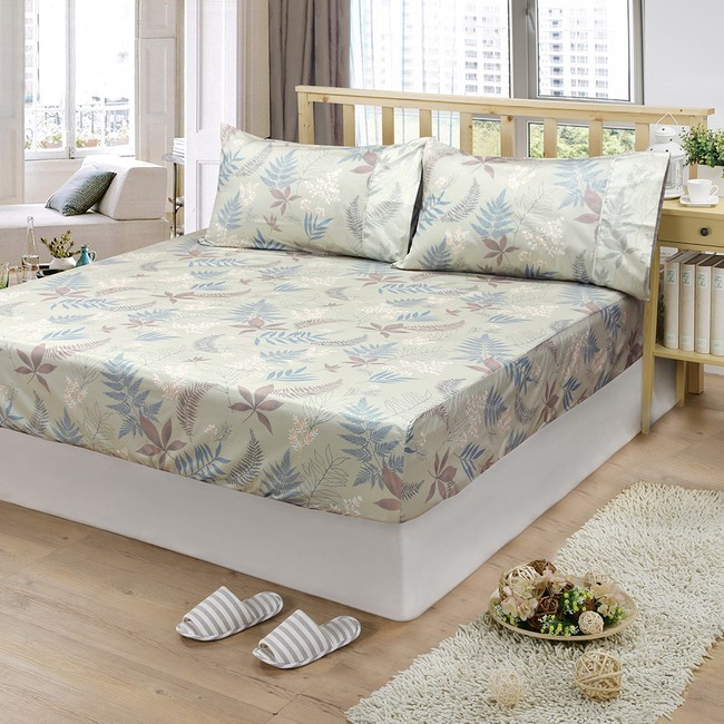 【FITNESS】精梳棉雙人床包枕套三件組-里葉亭(卡其)5*6.2