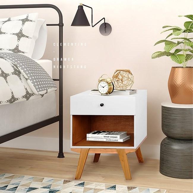 E-home 克萊蒙汀單抽收納床頭櫃-白色
