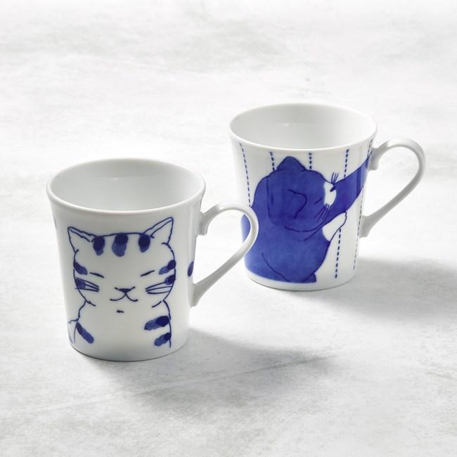 【有種創意】-日本美濃燒-仲良貓友馬克對杯組(2件式)