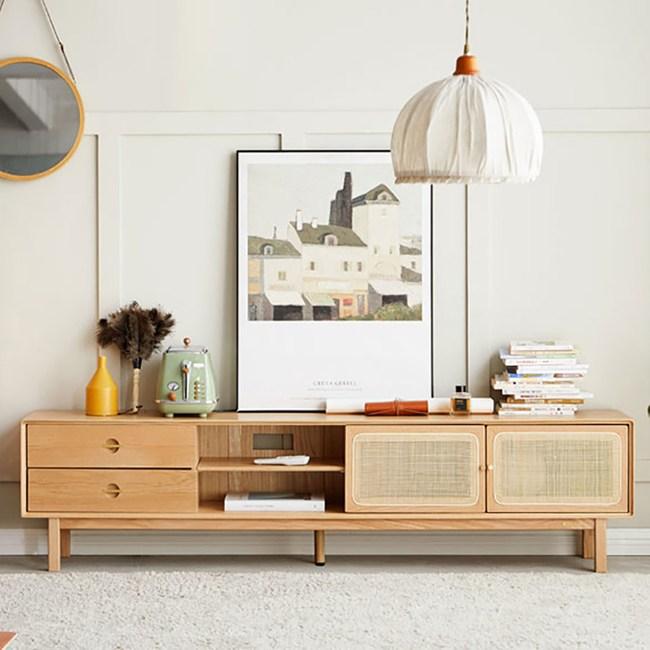 原木日式藤編白橡木實木簡約1.8M電視櫃 T02002