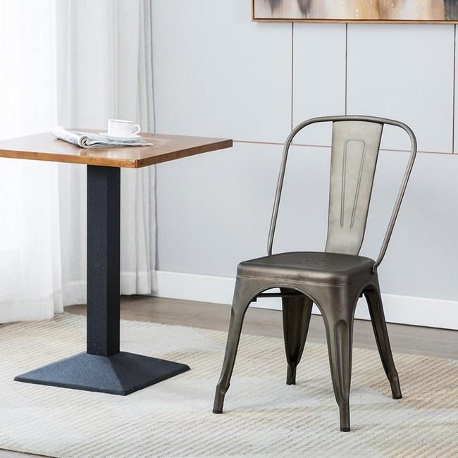 E-home希德尼工業風金屬高背餐椅-槍色