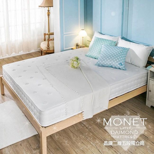 【obis】晶鑽系列_MONET二線五段式獨立筒無毒床墊雙人加大6*6.2尺