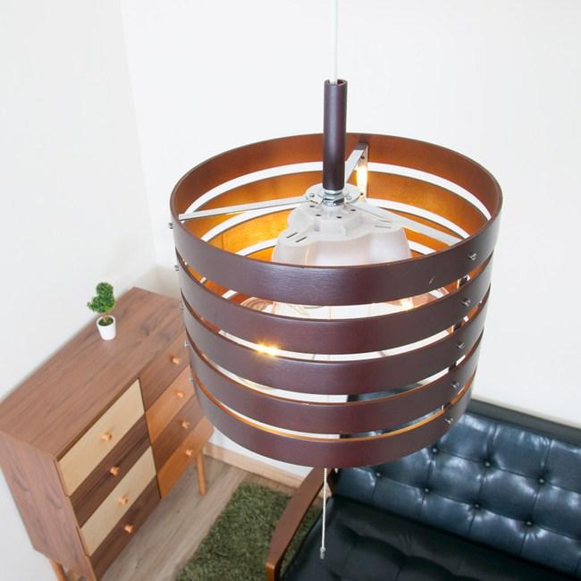 [日本 愛媛家居EHM]MINERVA 和風木質吊燈 (附小夜燈)~深棕色