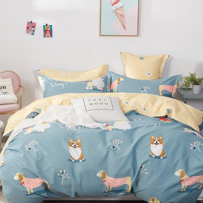 【eyah】100%寬幅精梳純棉雙人床包被套四件組-出來汪總要還