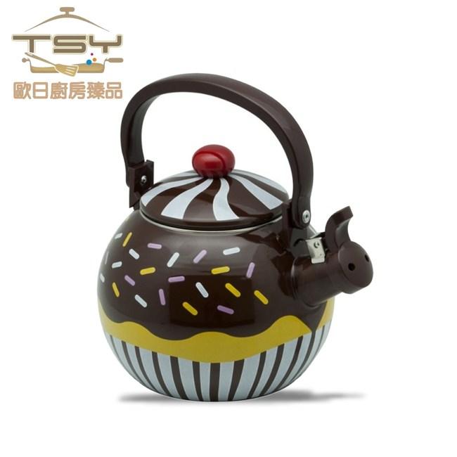 【TSY歐日廚房臻品】巧克力鬆餅不鏽鋼琺瑯彩繪笛音茶壺1.7L
