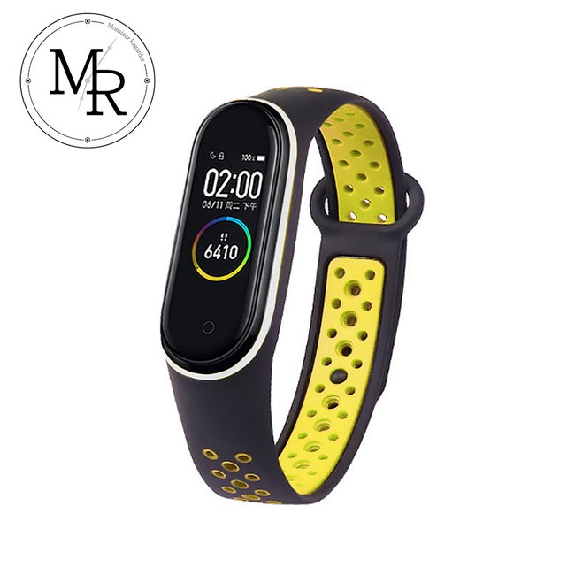 MR 小米手環3/4通用撞色矽膠運動替換錶帶(螢光黃黑)