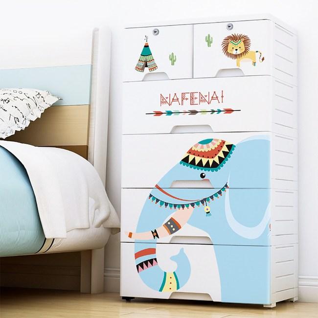 【收納+】60面寬印地安風系列-大象款五層抽屜收納櫃-DIY附鎖附輪大象