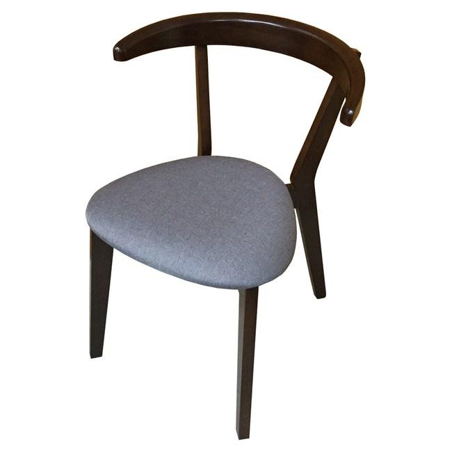 【YFS】Carlin胡桃色灰布面實木餐椅-44.5x49x71cm