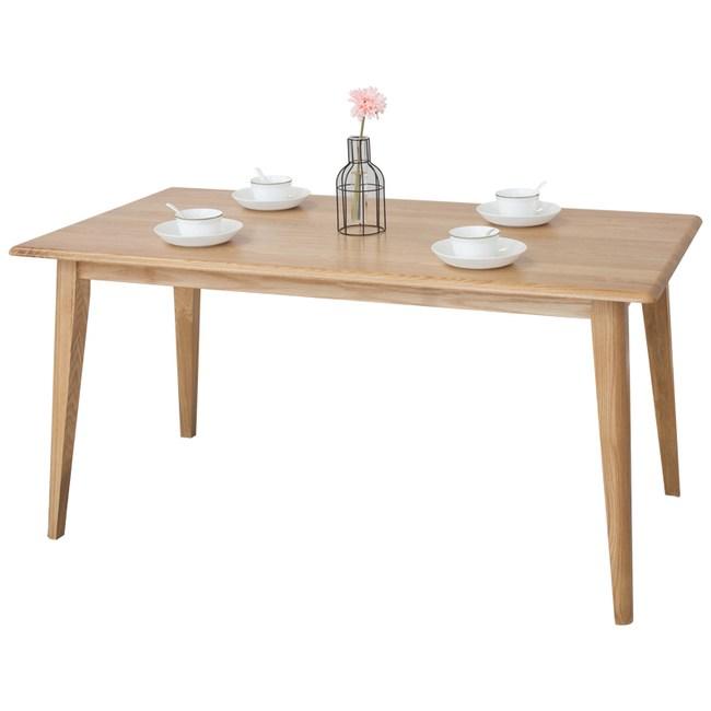 原木日式宇治白橡木實木1.5M斜腳餐桌w3038