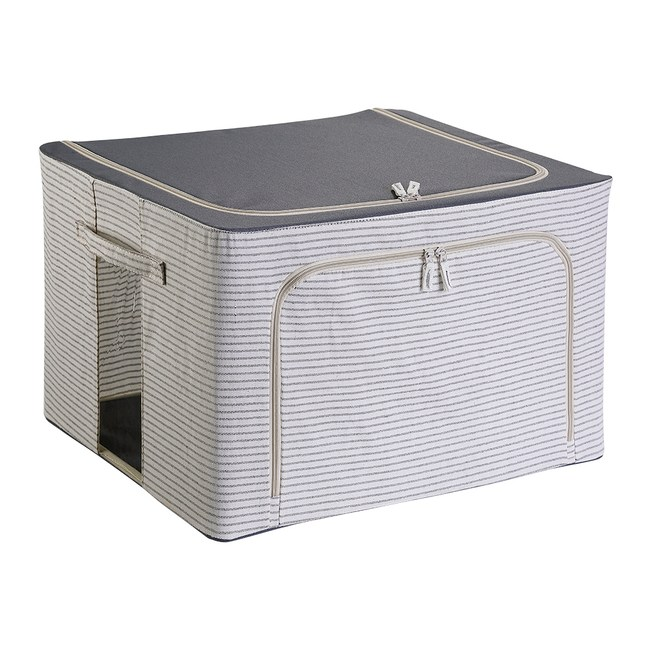 特力屋 鋼骨雙開摺疊條紋收納箱 88L 灰色