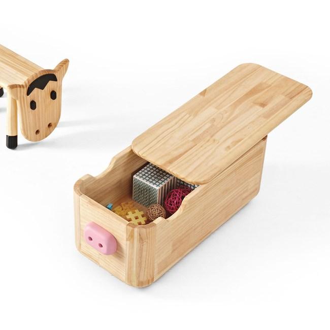 林氏木業 創意卡通實木兒童收納板凳LS114-粉紅豬