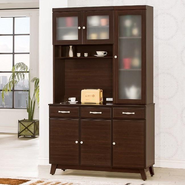 【YFS】西爾胡桃4尺餐櫃全組-120x40.5x198cm