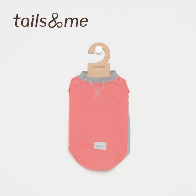 Tails&Me 尾巴與我-無袖撞色磨毛上衣(S)粉