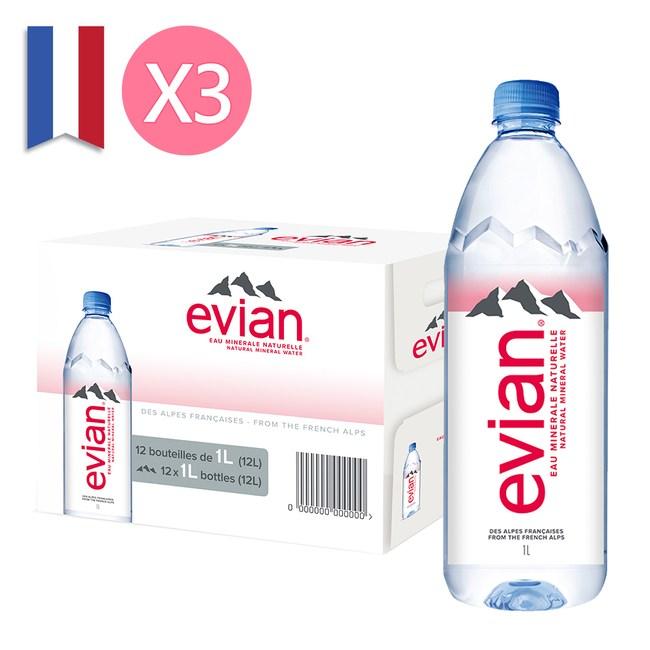 【Evian 依雲】天然礦泉水1000ml(12入/PET)X3箱