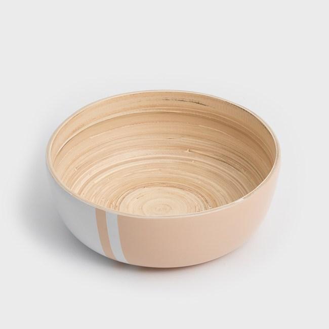 WAGA 清新南洋 20cm手工竹沙拉碗-粉嫩橘
