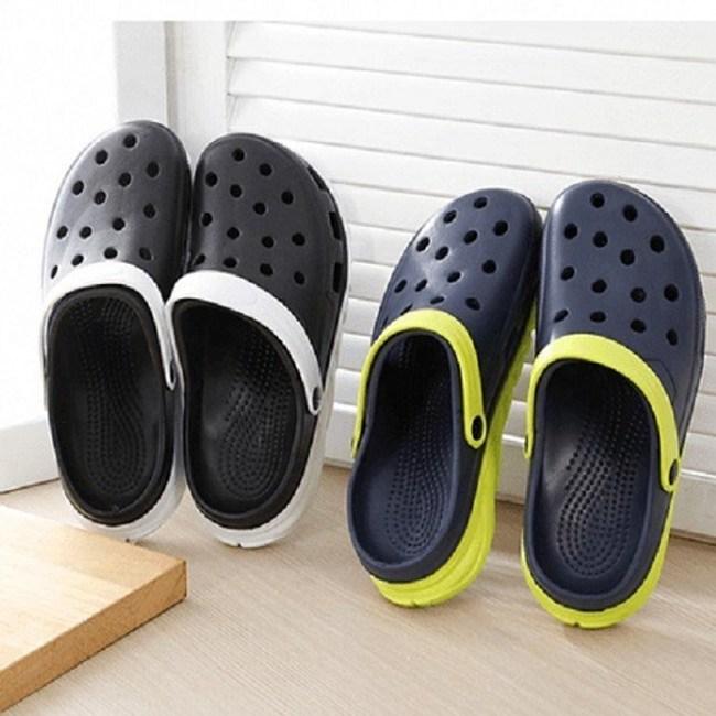 (e鞋院)雙色厚底園丁鞋布希鞋-男款黑白44