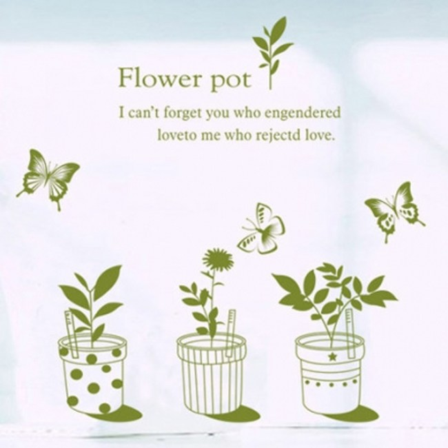 創意無痕壁貼 綠色蝴蝶盆栽
