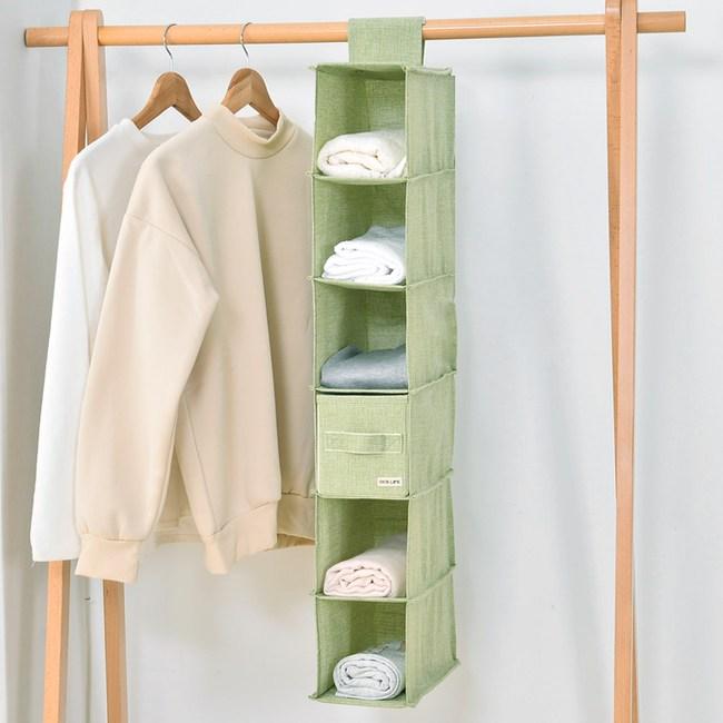 日式布質懸掛式衣物收納袋-(綠)小