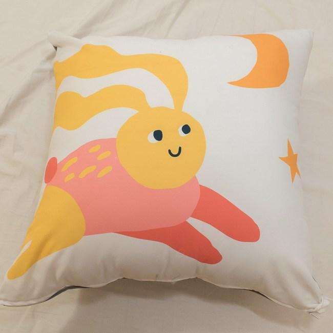 夢幻動物園 〔睡不著兔〕方抱枕 45cmX45cm 聚酯纖維棉 台灣製