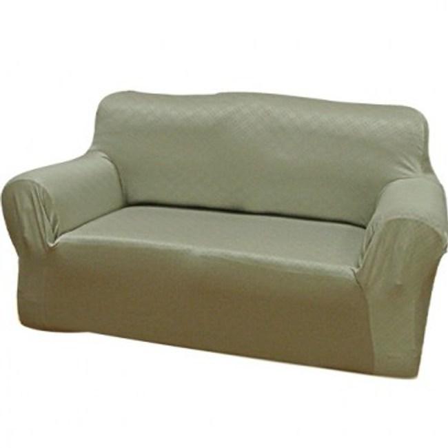 現代格紋彈性沙發罩灰1人