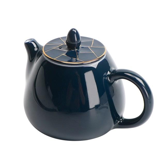 霽藍描金茶壺