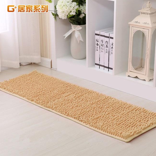G+居家系列 長毛止滑墊地墊走道墊運動毯 吸震止滑 40X130公分-亮米白