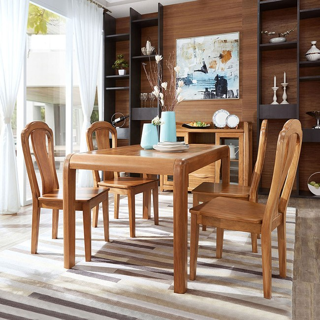 林氏木業中式烏金木色實木框餐桌 1.4M CU1R+餐椅 CU1S (一桌四椅)