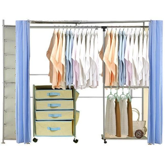 巴塞隆納─AH-16伸縮衣櫥 前布簾水藍色不織布