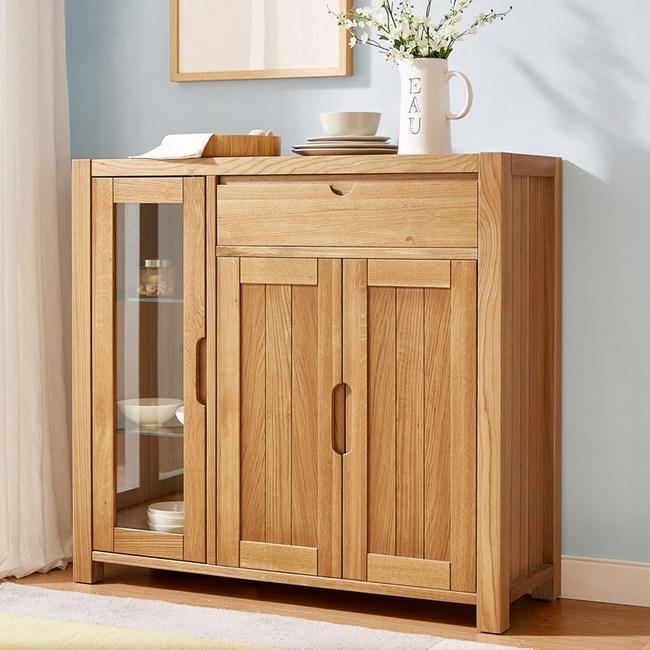 林氏木業北歐森林白橡木大容量儲物餐櫃CR1T-原木色