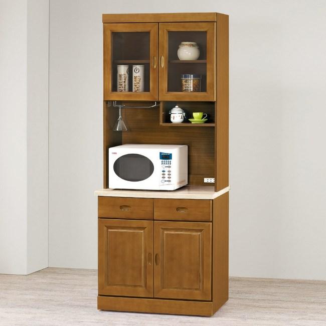 【YFS】卡拉樟木2.7尺仿石紋碗盤櫃全組-80.8x43x203.3