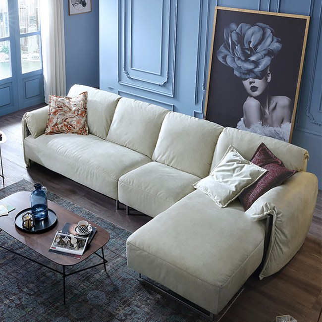林氏木業輕奢荷蘭絨雙扶手可拆洗L型四人布沙發(附抱枕)RAB2K-米白色