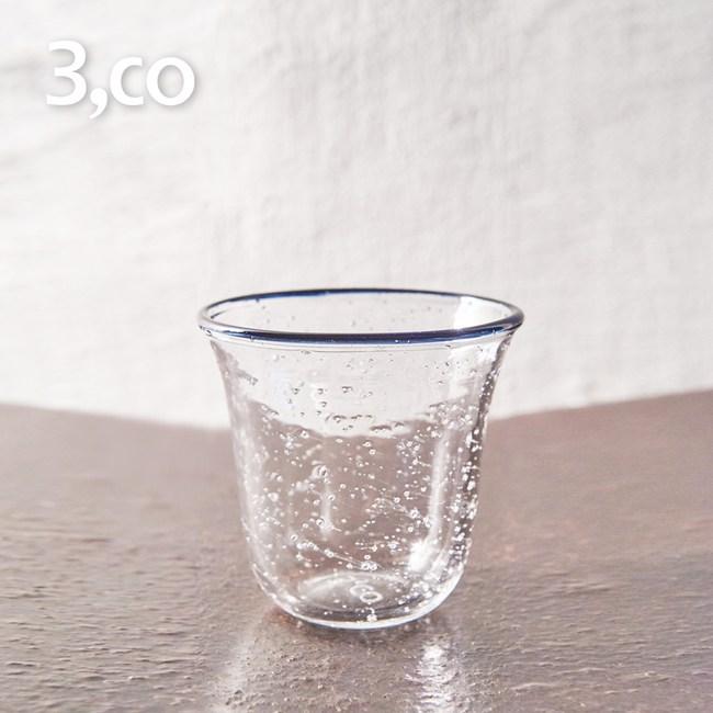 【3,co】手工氣泡感玻璃杯(小) - 藍邊