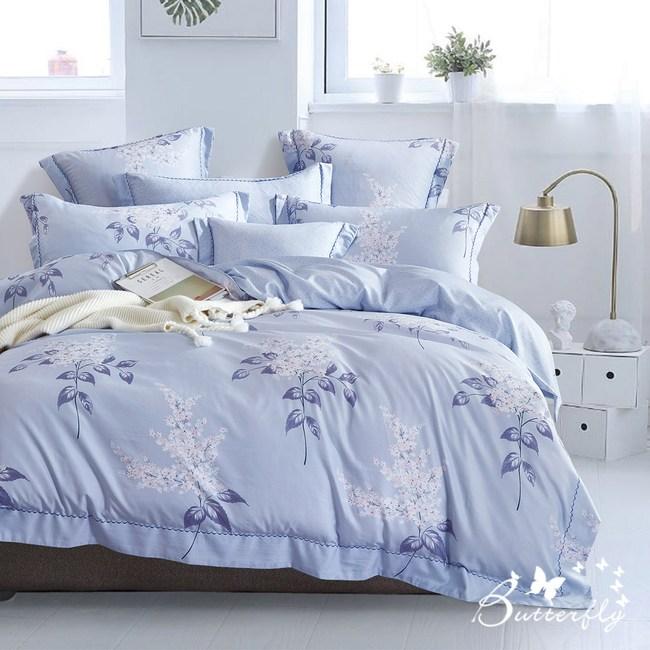 【BUTTERFLY】MIT-3M專利+頂級天絲-加大雙人薄床包涼被組-夏日庭榭-藍