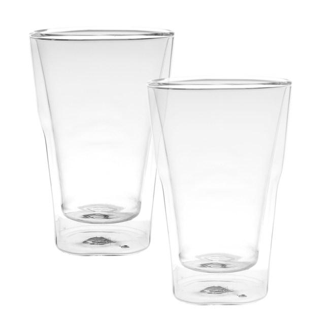 摩登雙層玻璃馬克杯 350ml 2入組
