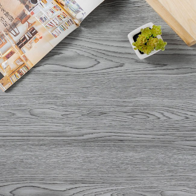 仿木紋地貼 地板貼-1坪【樂嫚妮】 DIY 塑膠地板 PVC地板煙燻灰橡木X24